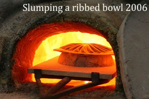 Quarley 2006 - Slumping a ribbed bowl (Photo by Elaine Wakefield